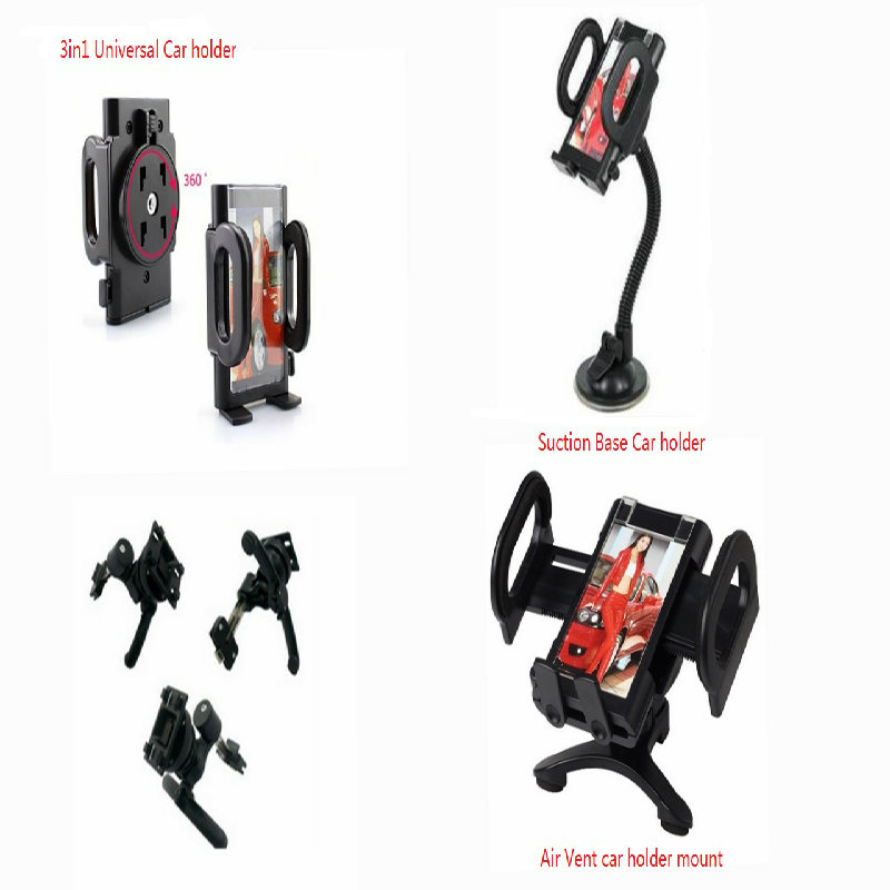 Universal 3 IN 1 Long Arm Suction Mount Air Vent Car Holder Kit Various Phones